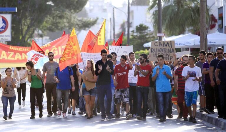 Manifestation à Nicosie près de l'ambassade de Turquie, le 4 juin 2013.