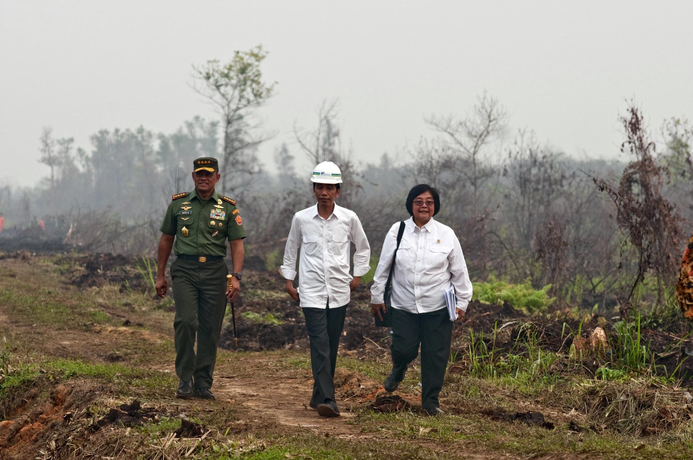 Le président indonésien, Joko Widodo, s'est rendu vendredi 9 octobre sur l'île de Sumatra, une des régions les plus touchées par les incendies.