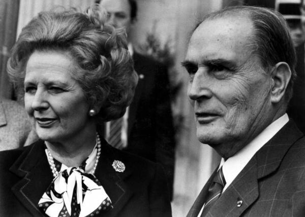 Margaret Thatcher et François Mitterrand.