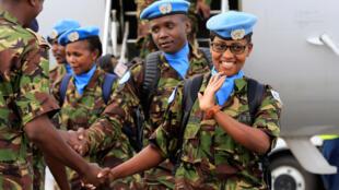 Wanajeshi wa Kenya wa KDF, wakiwa wanarejea nyumbani wakitokea Sudan Kusini.