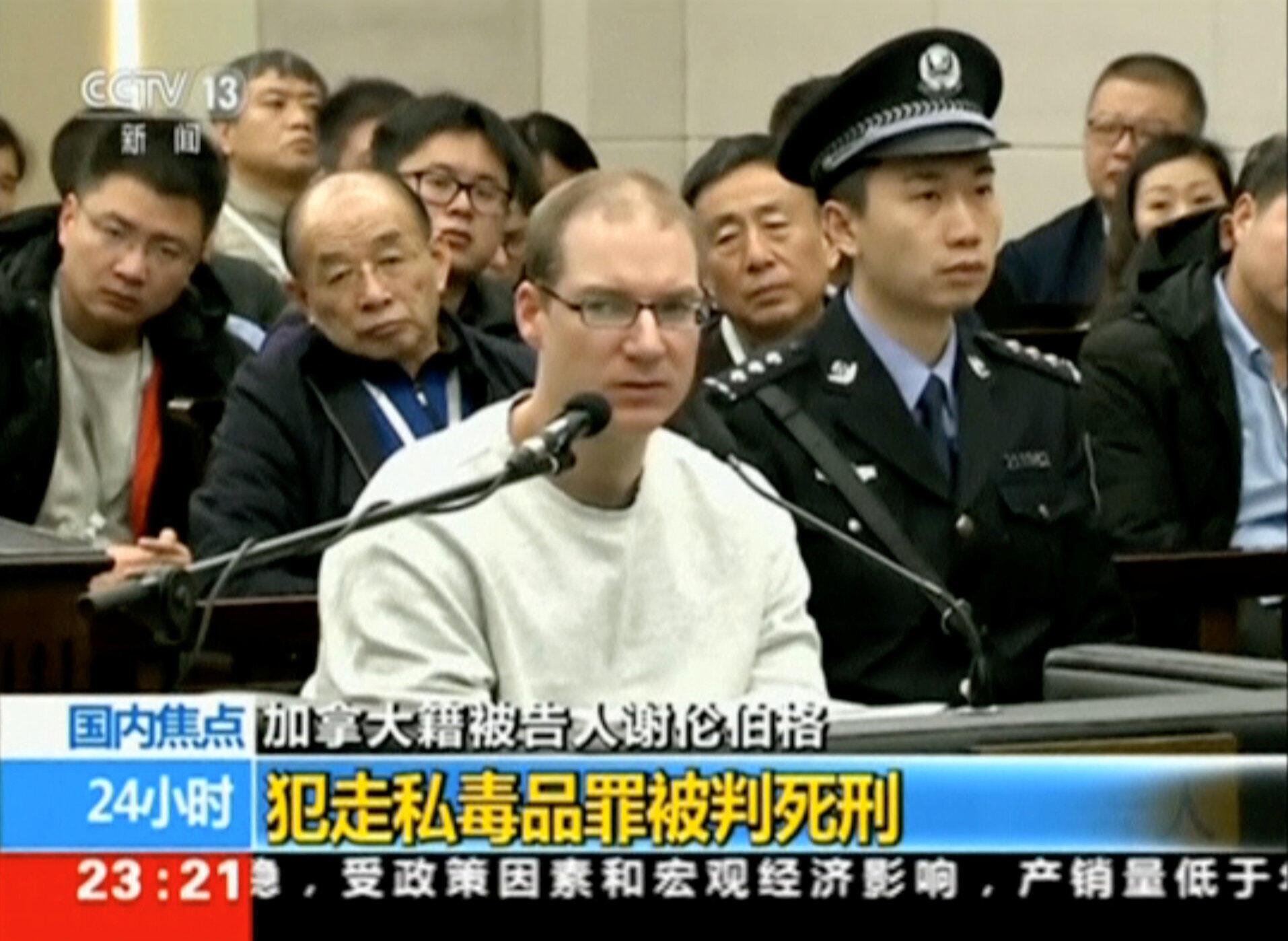 Công dân Canada Robert Lloyd Schellenberg trong phiên xử ở tòa án Đại Liên, tỉnh Liêu Ninh, Trung Quốc ngày 14/01/2019.