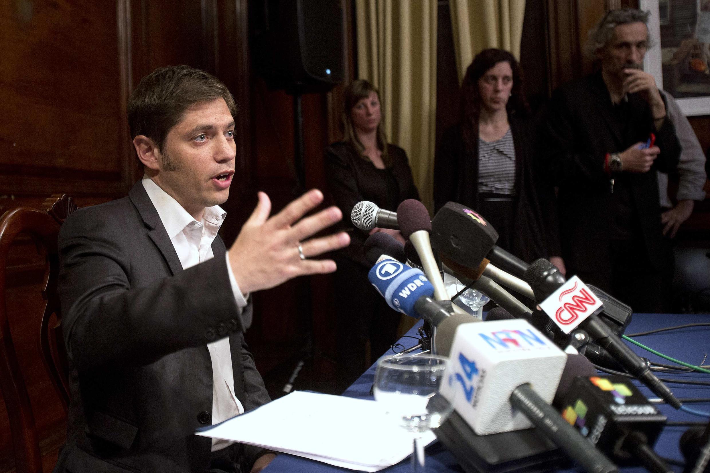O vice-ministro da Economia, Axel Kicillof, durante coletiva no consulado da Argentina em Nova York. 30 de julho de 2014.