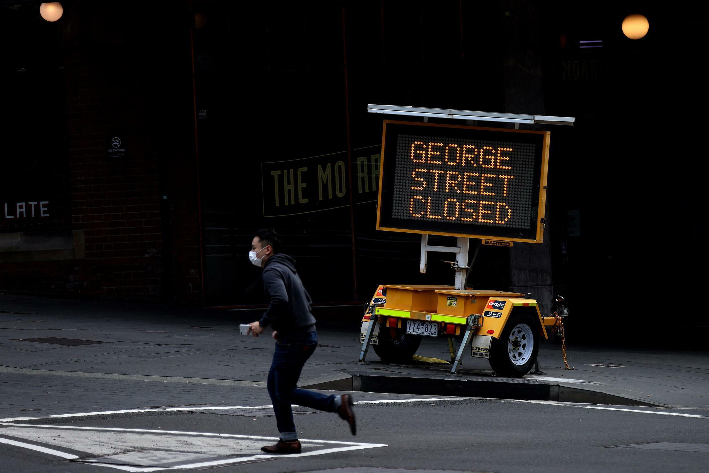 Une rue de Sydney fermée au public en plein confinement pour lutter contre la propagation du variant Delta du Covid-19, le 31 juillet 2021.