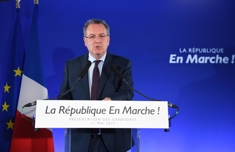 Secretário-geral  de La République en Marche, Richard Ferrand , durante a conferência de imprensa para a  divulgação das  suas  listas para as eleições legislativas.11 de Maio de 2017.Parisndidatos