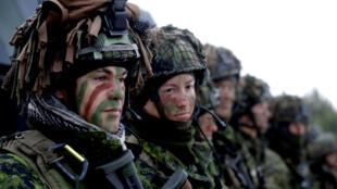 Binh sĩ Lítva cùng đồng đội thuộc 11 thành viên NATO khác tham gia tập trận trong môi trường chiến tranh đô thị gần Pabrade (Lít Va) ngày 02/12/2016.
