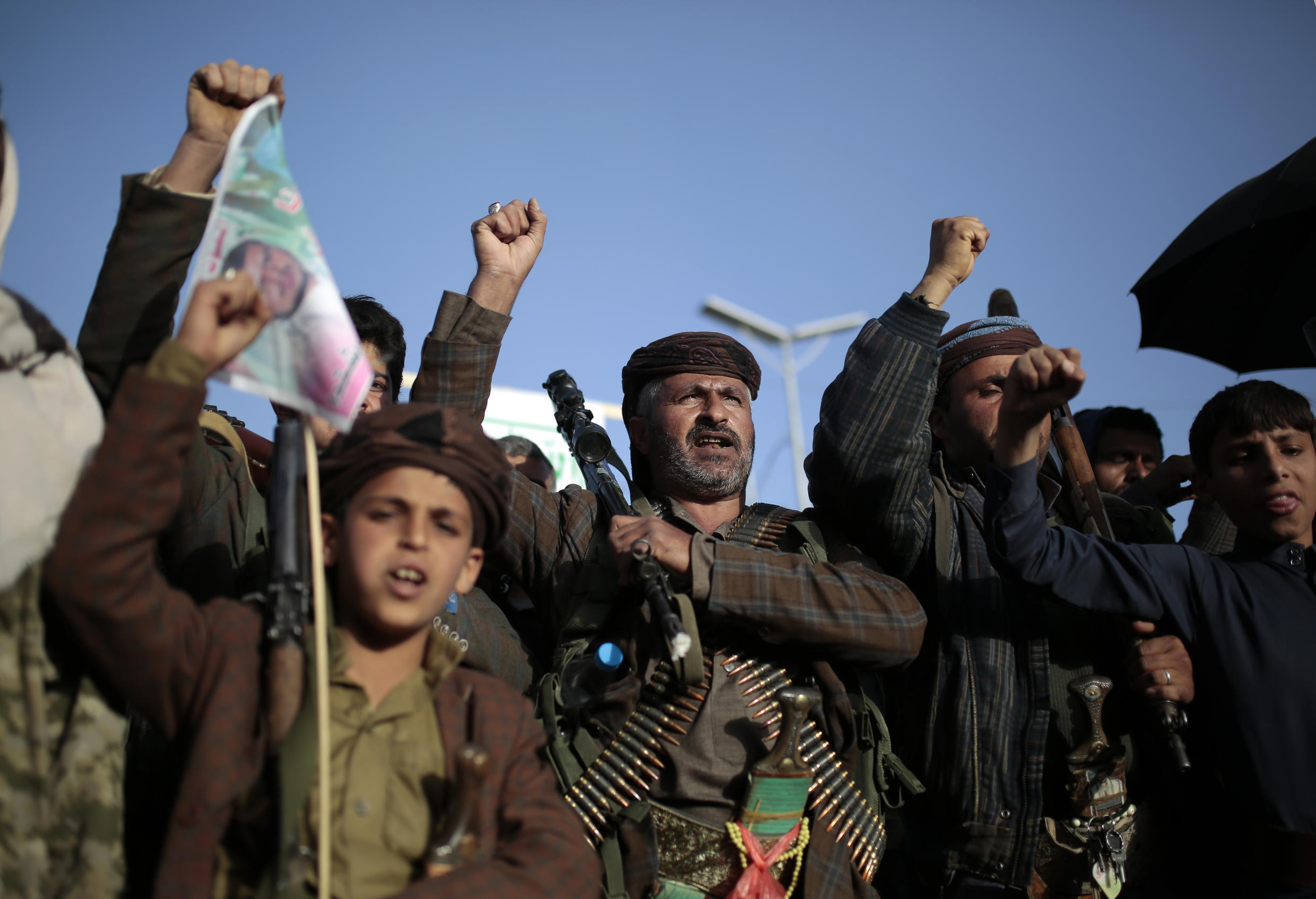 Houthi supporters chant slogans as they attend a demonstration against the United States over its decision to designate the Houthis a foreign terrorist organization in Sanaa, Yemen.