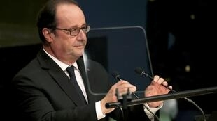 French president Hollande addressing the 71st United Nations General Assembly in New York on 20 September, 2016