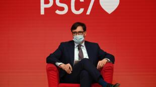 El candidato Salvador Illa, durante un acto electoral de los socialistas catalanes, el 29 de enero de 2021 en Barcelona