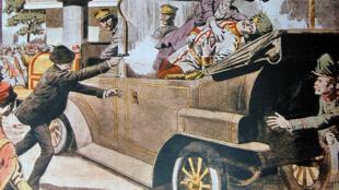 La Une du «Petit Journal», illustrant le 12 juillet l'assassinat de l'archiduc François-Ferdinand.