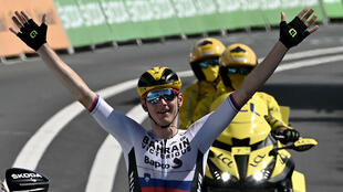 Le Slovène Matej Mohoric vainqueur en solitaire de la 19e étape du Tour de France, entre Mourenx et Libourne, le 16 juillet 2021