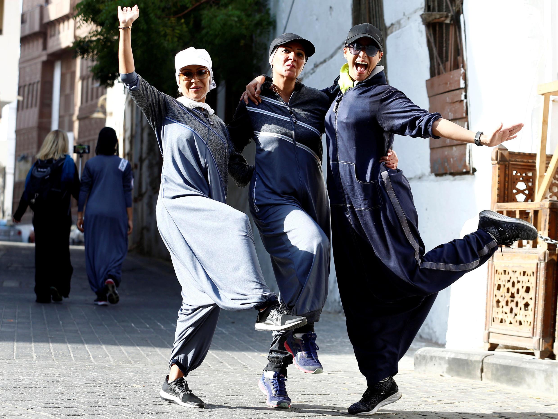 Участницы забега, приуроченного ко Международному женскому дню, 8 марта 2018, Джедда, Саудовская Аравия.