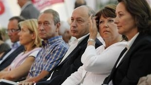 From left to right - Mayor of Paris Bertrand Delanoe, former Prime Minister Laurent Fabius, First Secretary Martine Aubry and party member Segolene Royal at the Socialist party meeting in La Rochelle on 29 August 2010