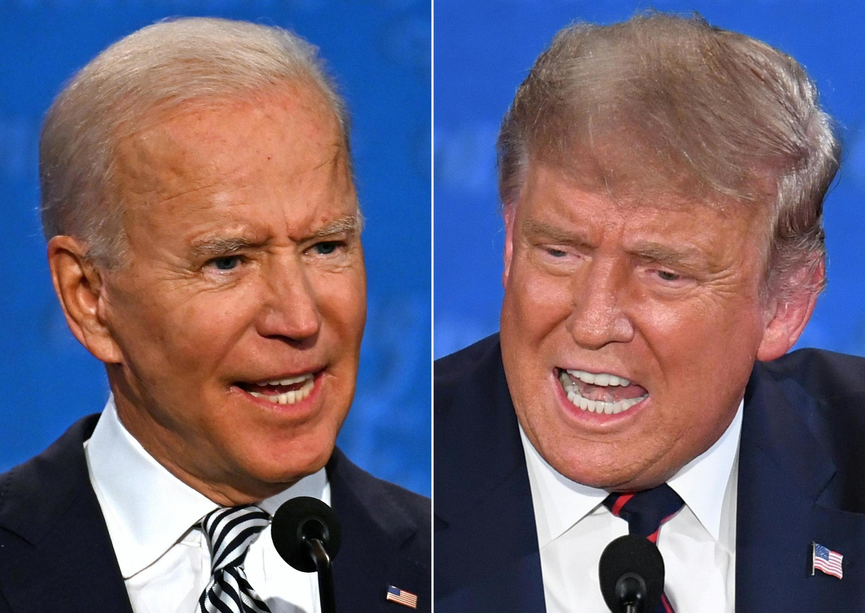2020年美国总统选举民主党候选人拜登(左)与谋求连任的卸任总统特朗普9月29日举行首场电视辩论。