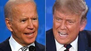 2020年美國總統選舉民主黨候選人拜登(左)與謀求連任的卸任總統特朗普9月29日舉行首場電視辯論。