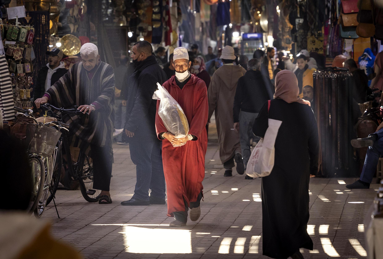 Una imagen de la ciudad vieja de Marrakech tomada el 24 de febrero de 2021 en la ciudad marroquí