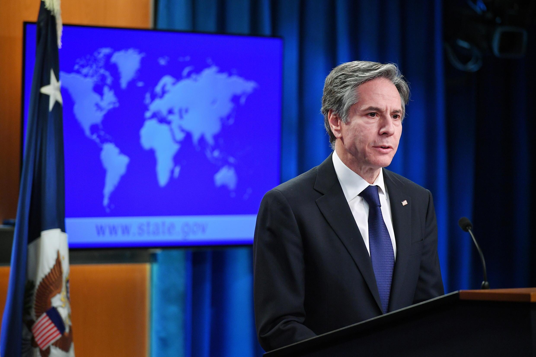 Ngoại trưởng Mỹ Antony Blinken trong cuộc họp báo công bố Báo cáo về tình trạng nhân quyền trên thế giới 2020, tại bộ Ngoại Giao, Washington DC, Hoa Kỳ, ngày 30/03/2021.