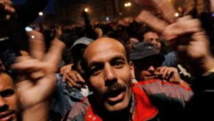 Scène de joie sur la place Tahrir, le 11 février 2011.