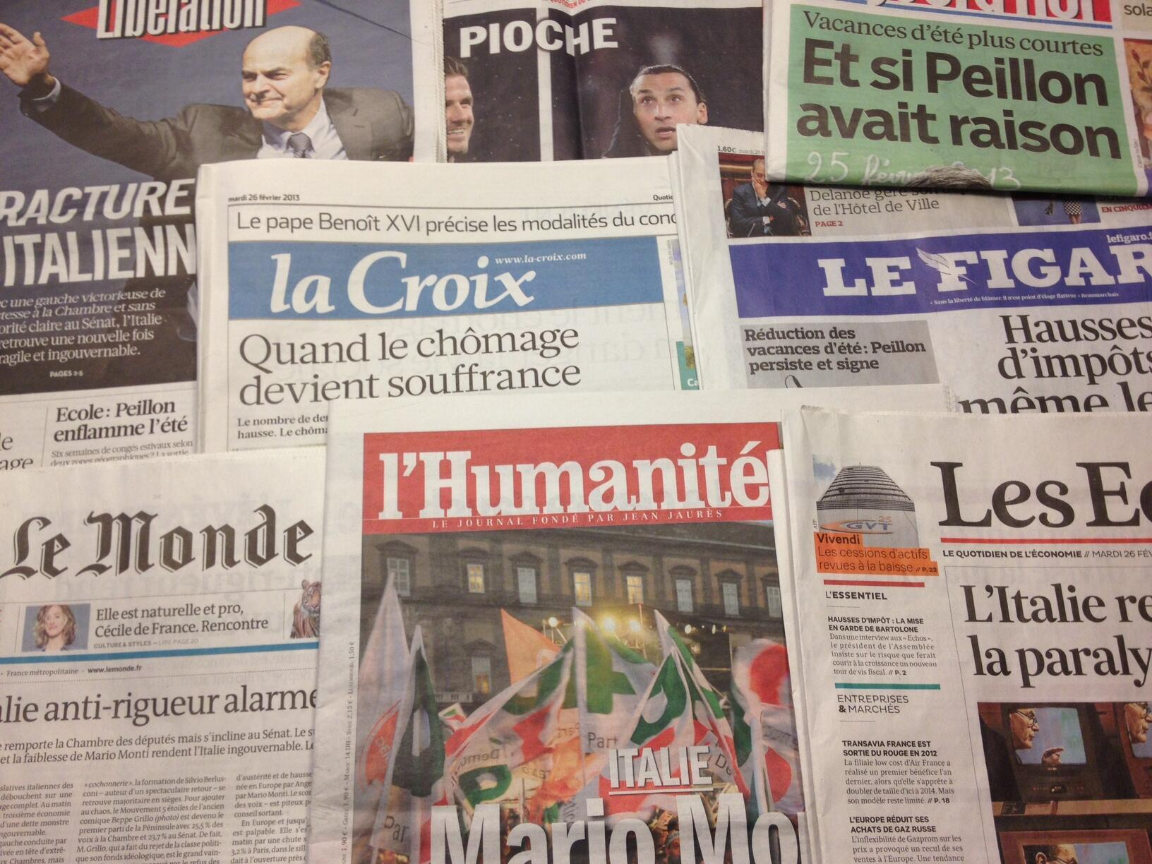 Primeiras páginas diários franceses 26/2/2013