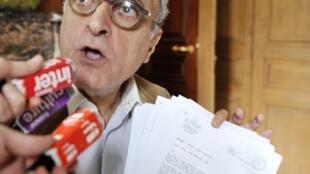 Ziad Takieddine lors d'une conférence de presse le 18 octobre 2012 à Paris.