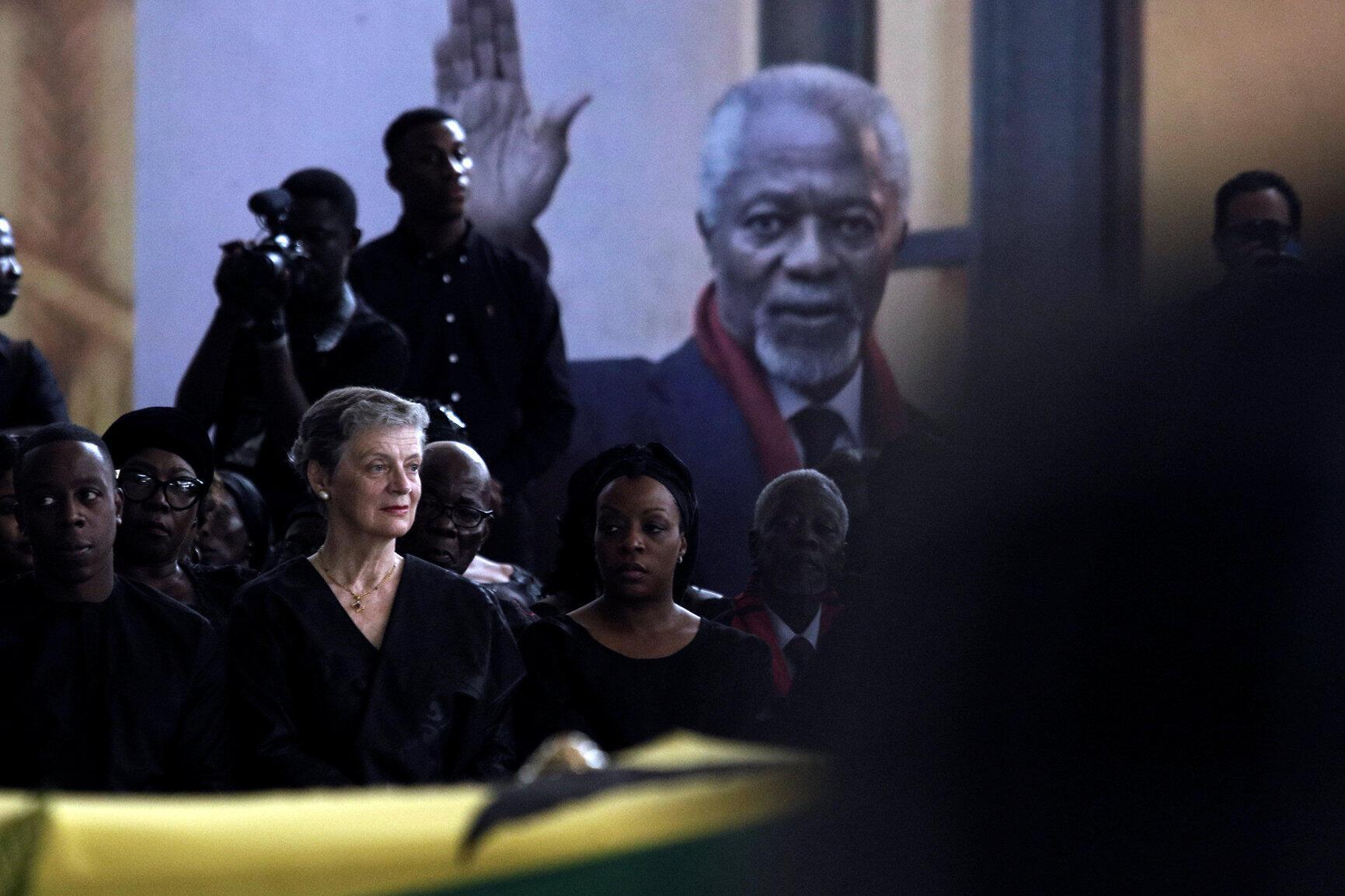 Nane Maria Annan, la femme de Koffi Annan lors des obsèques de l'ancien secrétaire des Nations unies, le 12 septembre 2018 à Accra au Ghana.