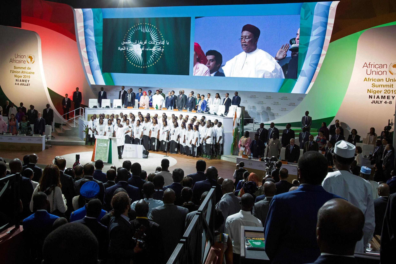 O presidente do Niger, o país anfitrião da Cimeira da UA, em Niamey.
