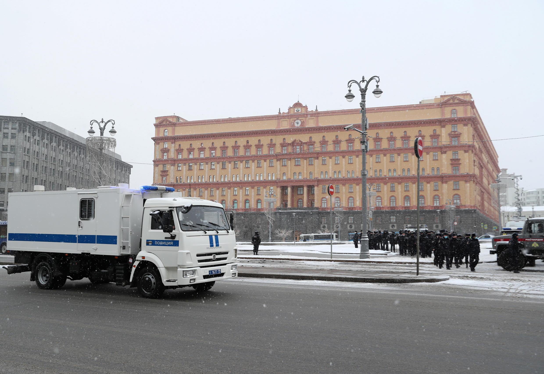 Лубянская площадь в Москве утром 31 января 2021.