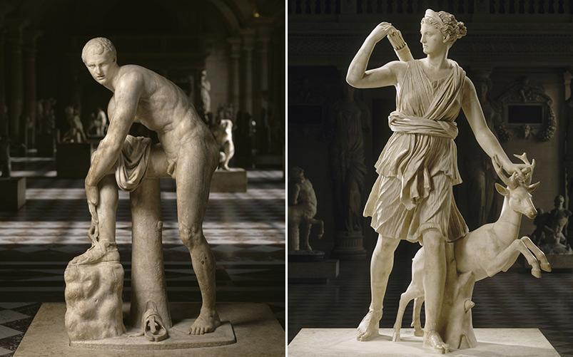 """Hermes atando sus sandalias"", ""Diana de Versalles""."