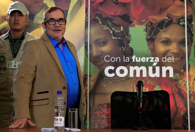 O líder do partido Farc, Rodrigo Londoño, fotografado em Bogotá no dia 28 de fevereiro, na véspera de sofrer um novo infarto.