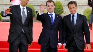 Da esquerda para a direita: Barack Obama, Dmitry Medvedev e Nicolas Sarkozy.
