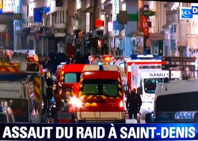 عملیات پلیس فرانسه در مرکز شهر سن دنی در شمال پاریس