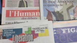 Primeiras páginas dos diários franceses de 6/6/2014