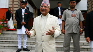 Nepal's Prime Minister Madhav Kumar addresses the media in Kathmandu, 28 May.