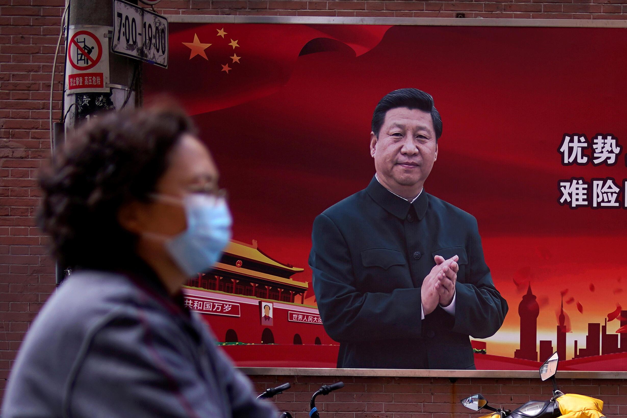 疫情中的中国上海街头资料图片