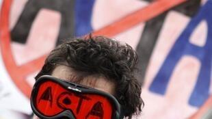 Biểu tình chống Hiệp định ACTA tại Sofia, Bulgari, 11/02/2012