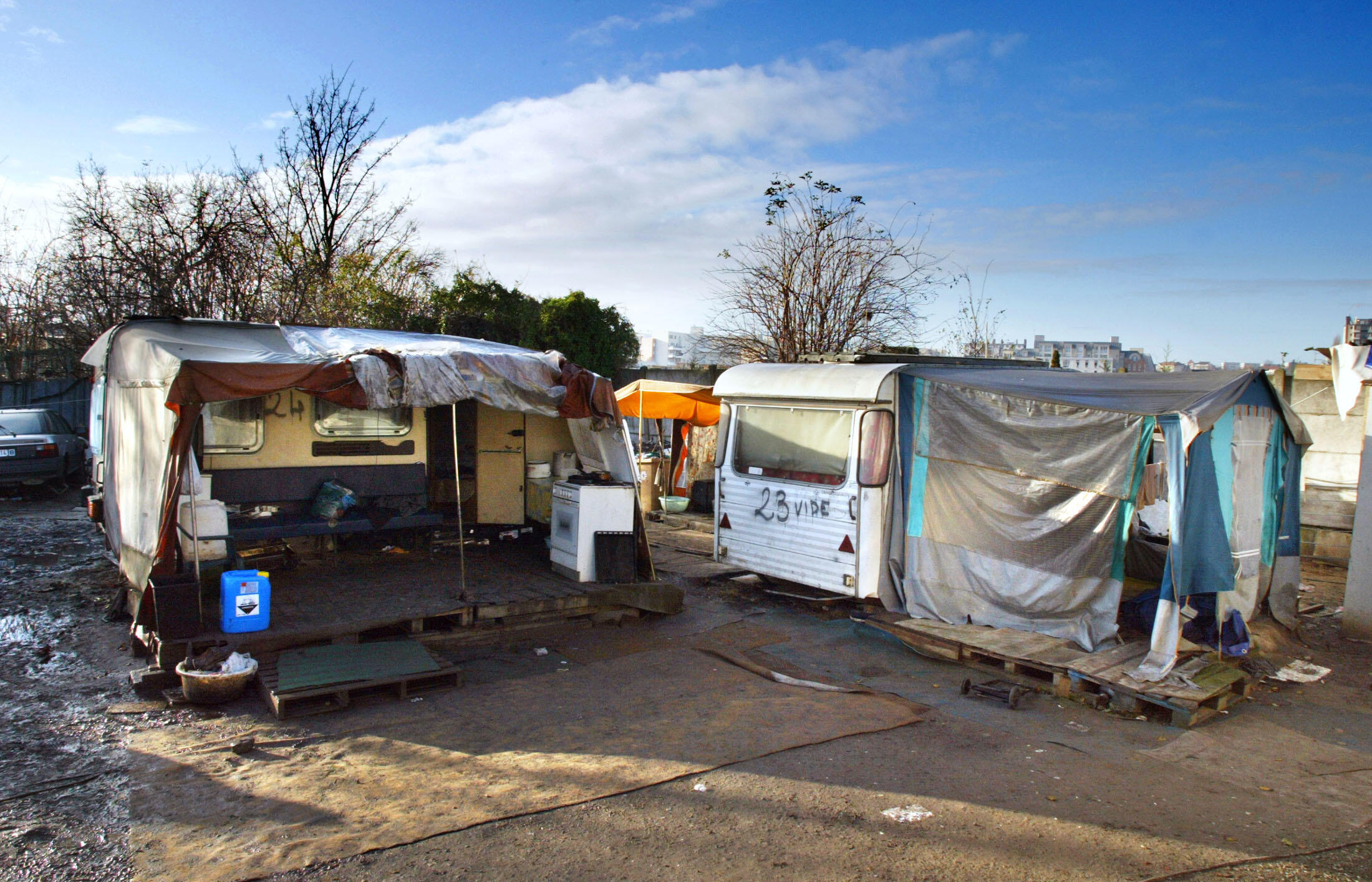 A Roma camp in France.