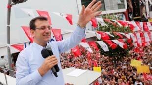 Ekrem Imamoglu, lors d'un rassemblement électoral à Istanbul, le 19 juin 2019.