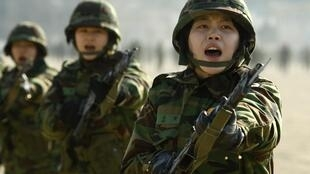 Cadets from the Women Reserve Officers Training Corps participate in military training at an army unit in Seongnam, 19 January