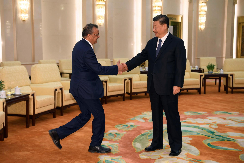 2020年1月28日,中国国家主席习近平在人民大会堂会见世卫组织总干事谭德塞。