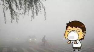 图为中国网络关于雾霾的漫画