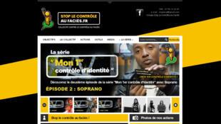 La page d'accueil du site du collectif contre le contrôle au faciès.