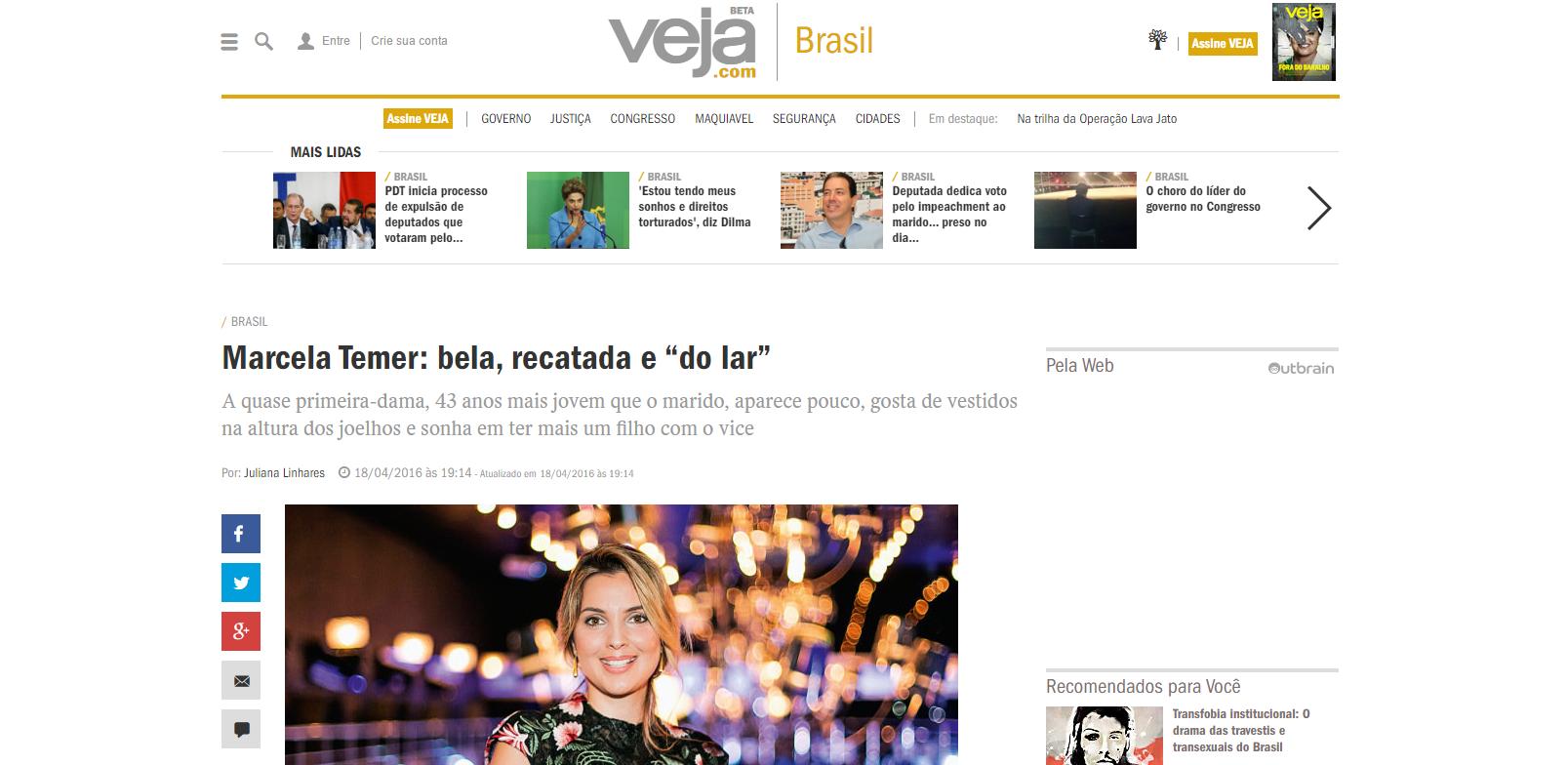 Marcela Temer, la jeune femme «belle, élégante et femme au foyer», selon le magazine Veja.