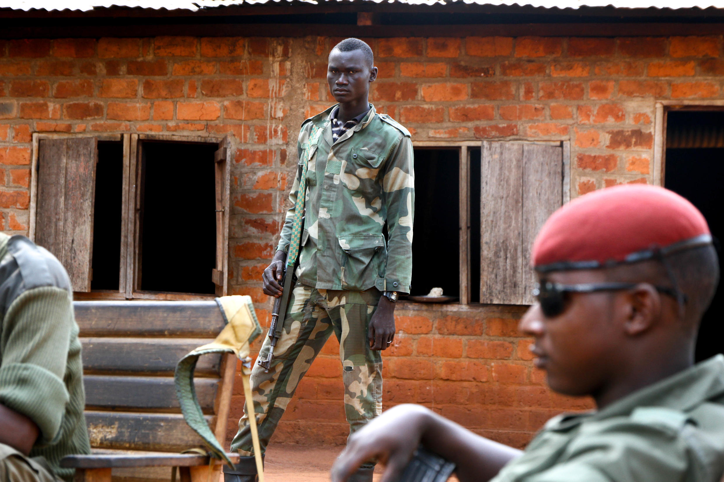 Members of Union for Peace in CAR (UPC) militia, a branch of ex-Seleka, in front of a playground in Ngadja, Ouaka province, CAR