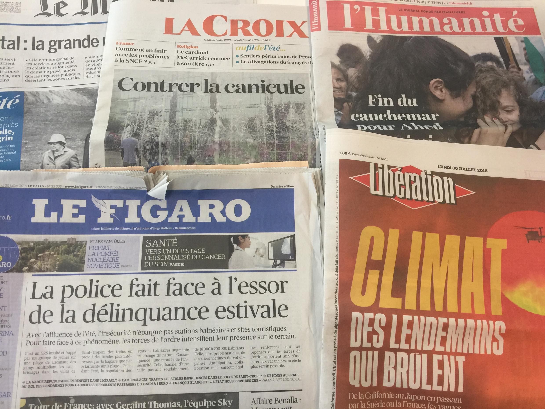Jornais franceses de 30 de Julho de 2018.