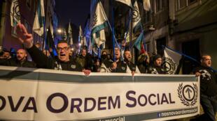 Les membres du parti d'extrême droite portugais Nouvel ordre social, dirigé par l'activiste nationaliste Mário Machado, lors d'une manifestation le 1er février 2019 à Lisbonne. (Image d'illustration)