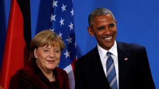Barack Obama  y Angela Merkel durante la Conferencia comun, en  Berlin el 17 novembre 2016.