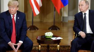 Shugaban Amurka Donald Trump da takwansa na Rasha Vladimir Putin yayin wata ganawa Helsink a shekarar 2016
