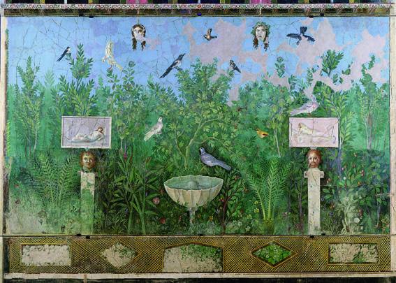 Фреска, изображающая сад, из дома Золотого Браслета в Помпеях. 30-35 гг. до н. э.