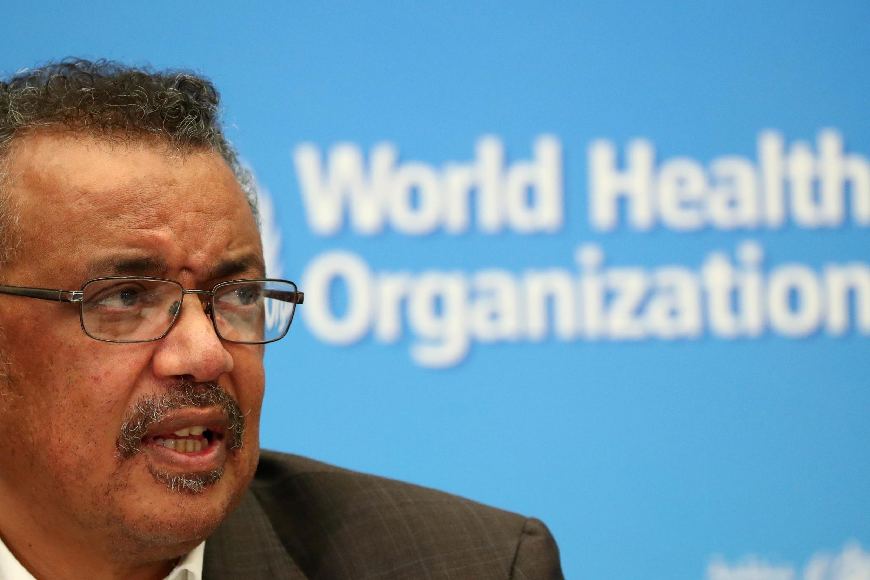 世界衛生組織總幹事譚德塞2020年3月18日在日內瓦的一次疫情通報會上。
