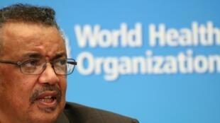 世界卫生组织总干事谭德塞2020年3月18日在日内瓦的一次疫情通报会上。