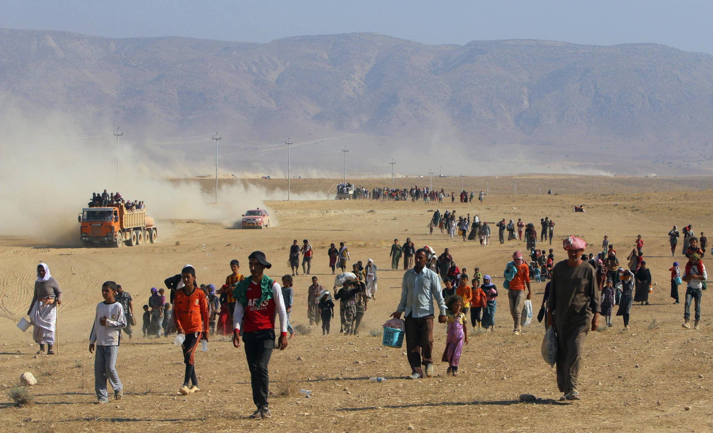 Người Yazidi tỵ nạn gần biên giới với Syria, ngày 11/08/2014
